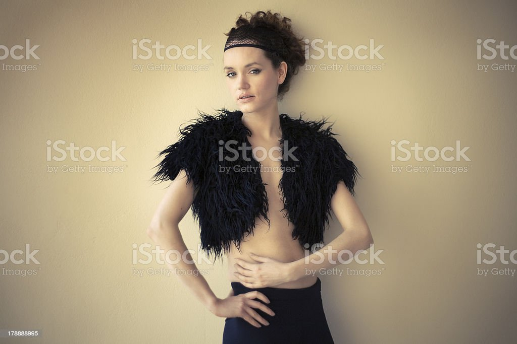 Fashion photo of a model in black royalty-free stock photo