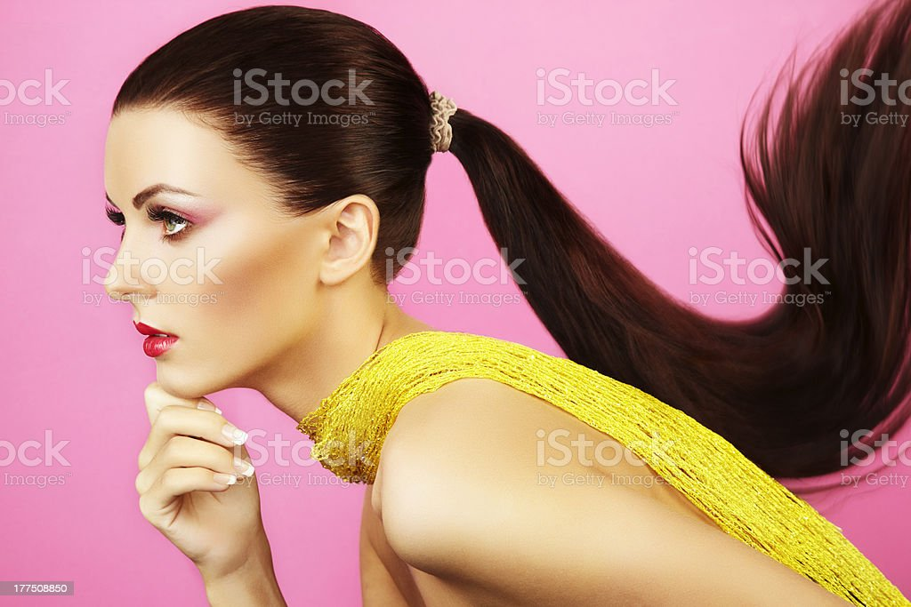 Fashion photo of  beautiful woman with  ponytail stock photo