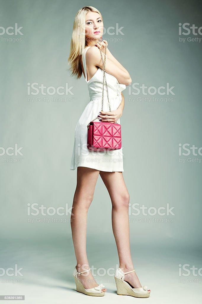 Fotografia de moda Jovem mulher magnífica. Menina com bolsa - foto de acervo
