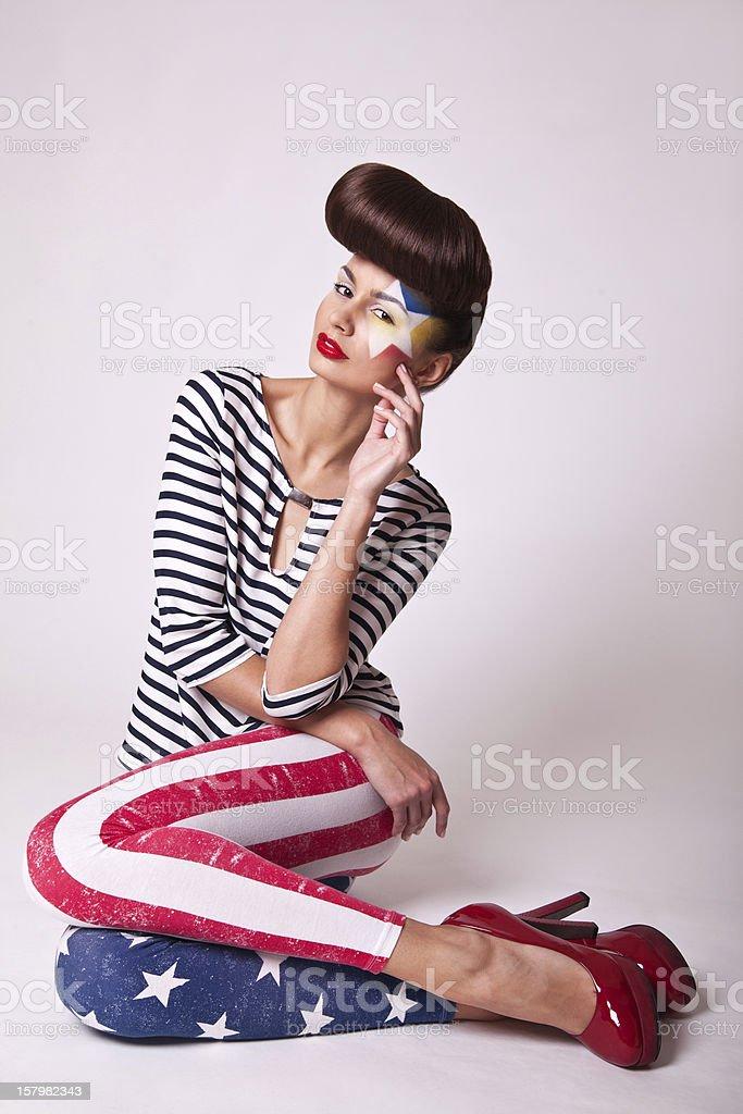 fashion portrait beautiful girl stock photo