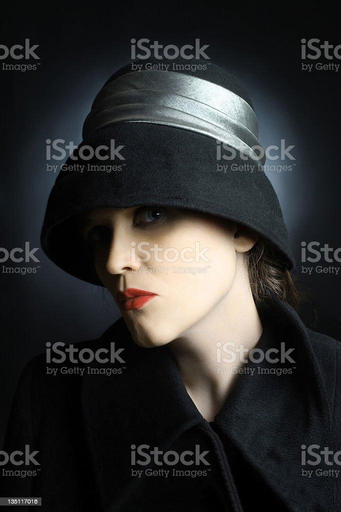 Fashion portrait beautiful woman in black hat stock photo