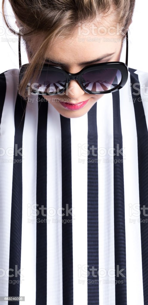 Fashion portrait brunette in sunglasses. 免版稅 stock photo