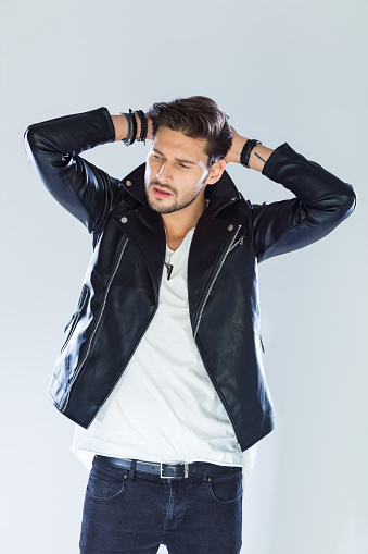Fashion Portrait Handsome Macho Wearing Leather Jacket Stock Photo - Download Image Now
