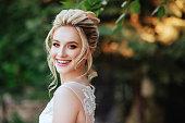 Fashion portrait of a beautiful blonde bride