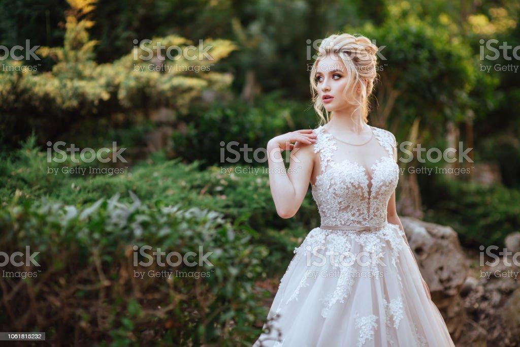 Fashion portrait of a beautiful bride stock photo