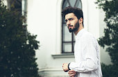 istock Fashion portrait of a handsome bearded man. 486391468