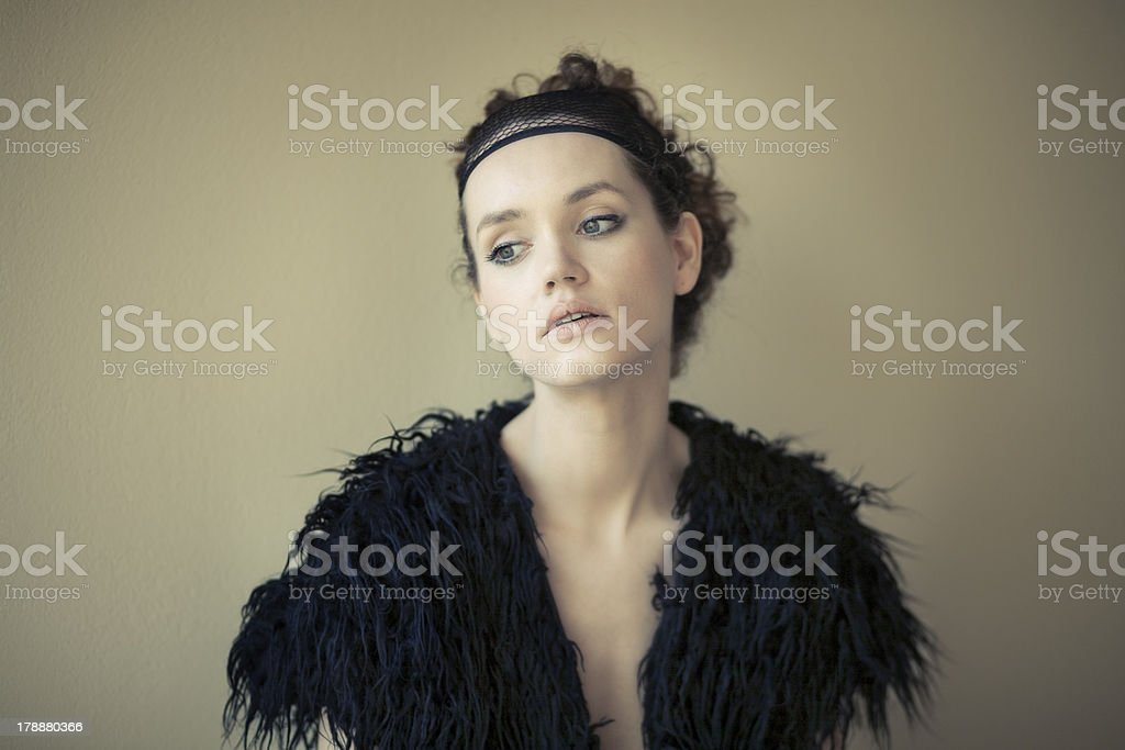 Fashion portrait of a model in black stock photo