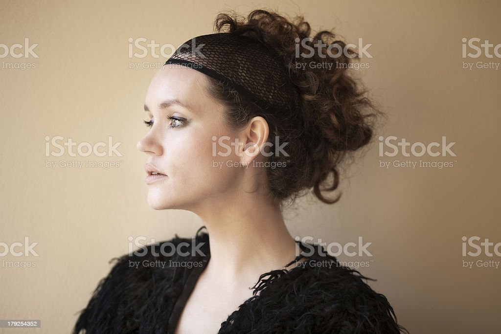 fashion portrait of a model in black royalty-free stock photo