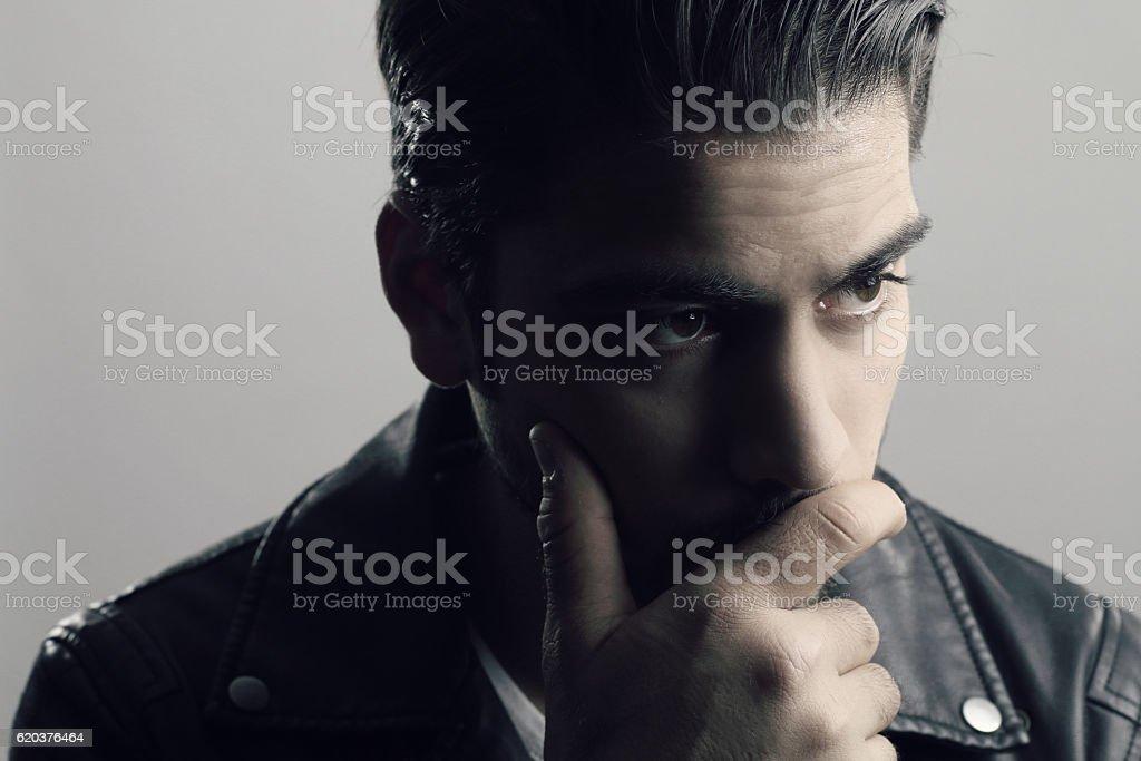 Fashion portrait of a pensive man foto de stock royalty-free