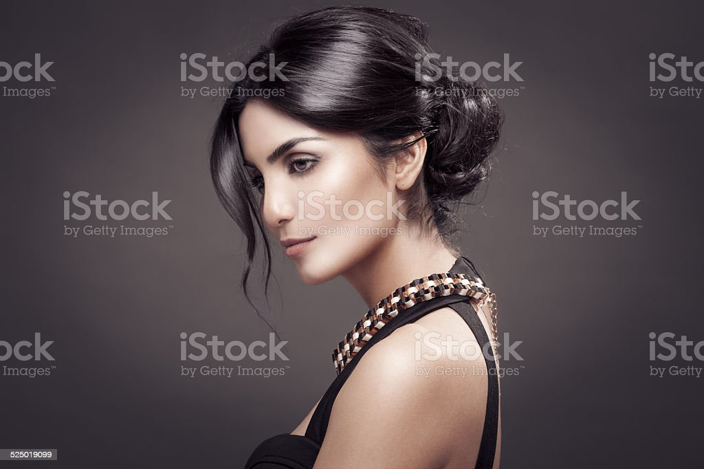 Fashion Portrait Of Beautiful Woman. Dark Background. stock photo