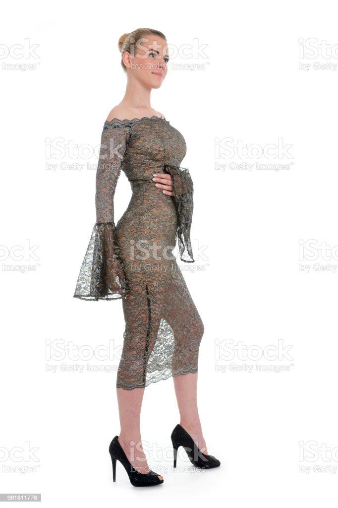 17bc292e08f7 Schöne Frau Im Eleganten Kleid Mode Portrait Mädchen Mit Elegante ...