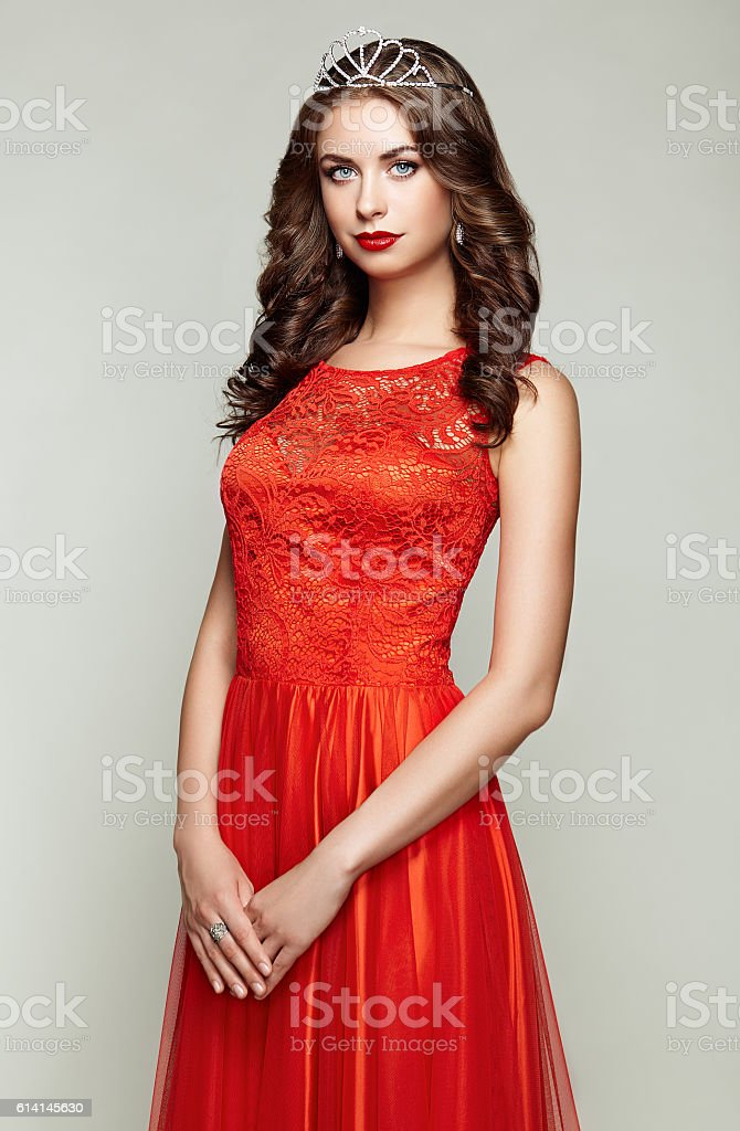 Fashion portrait of beautiful woman in elegant dress stock photo