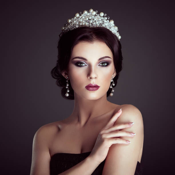 fashion portrait of beautiful woman with tiara on head - diadem stock pictures, royalty-free photos & images