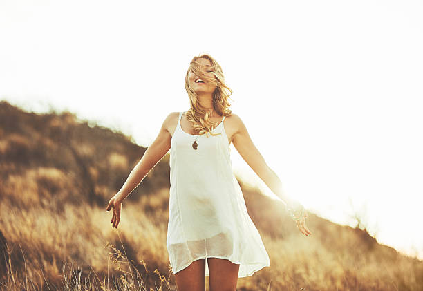 fashion portrait of beautiful young woman - hippie fashion stock photos and pictures