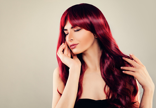 Fashion Portrait Of Cute Woman Fashion Model With Red Hair On Banner Background Stock Photo Download Image Now Istock