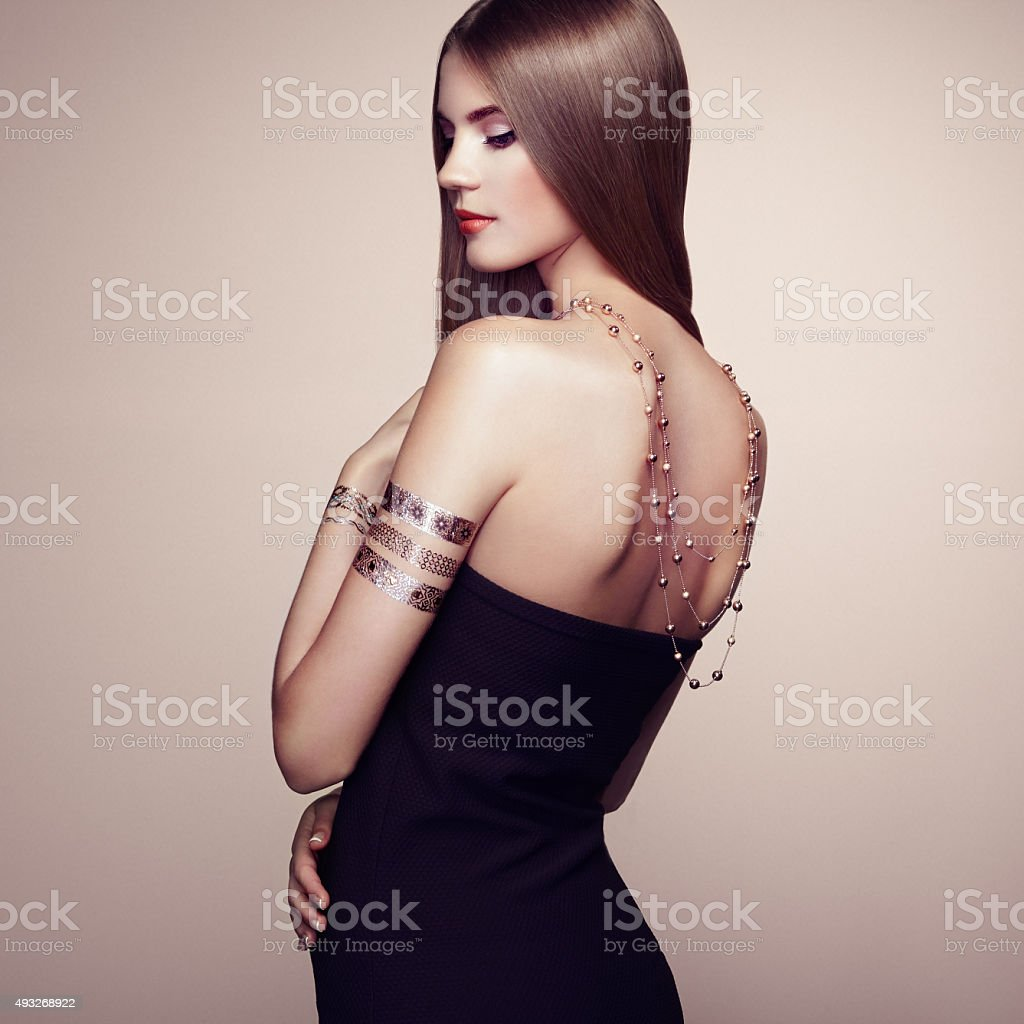 Fashion portrait of elegant woman with magnificent hair stock photo