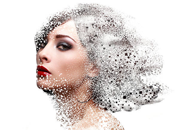 fashion portrait of makeup woman face with pixeled dispersion - pixellated stock photos and pictures