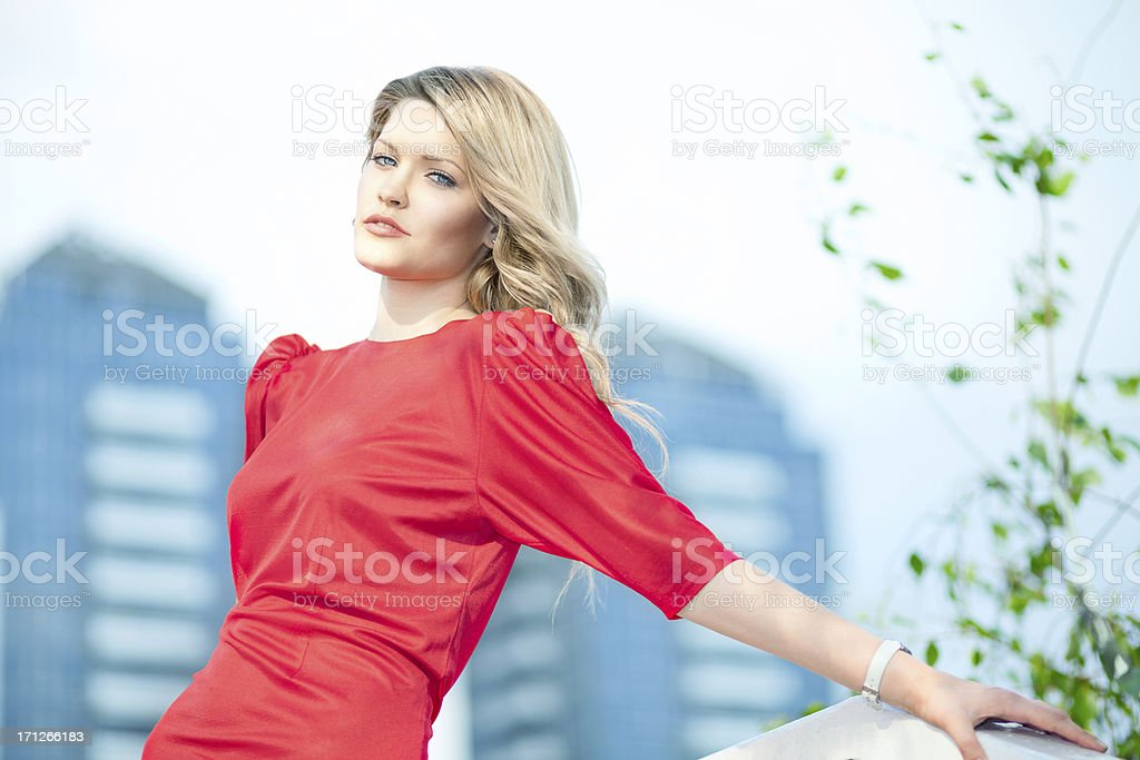 Fashion portrait of sensual young woman  in red dress stock photo