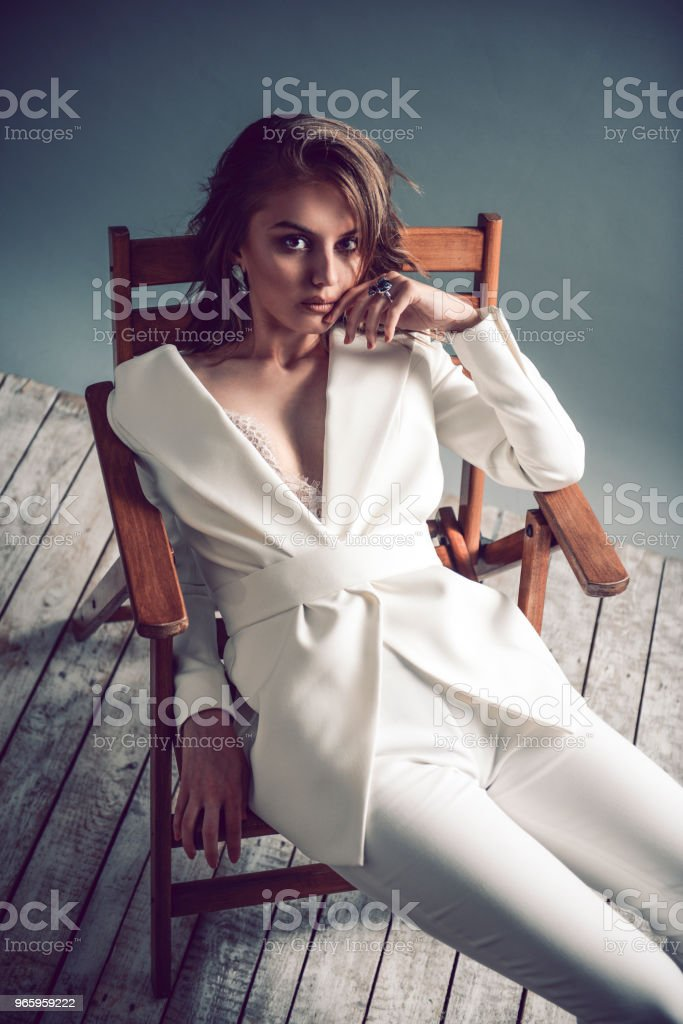 Fashion Portrait of Sensual Young Woman with Short Hair - Royalty-free Adolescence Stock Photo