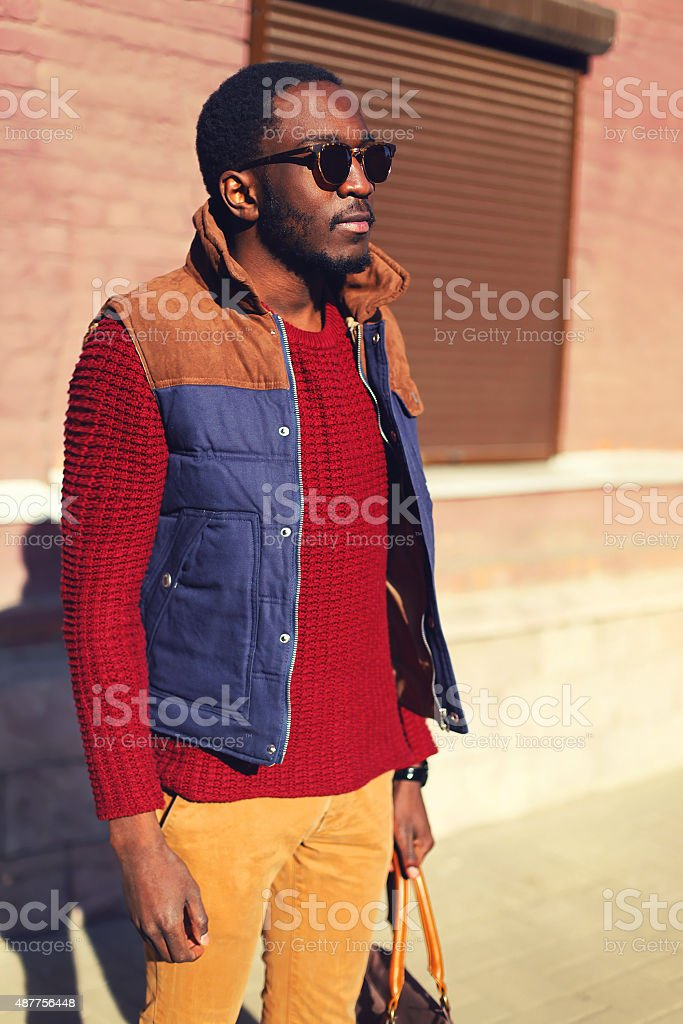 Fashion portrait of stylish confident young african man in city stock photo