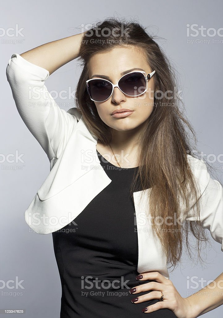Fashion portrait of the young sexual brunette women royalty-free stock photo