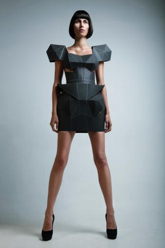 istock Fashion portrait of woman in futuristic dress 125141314