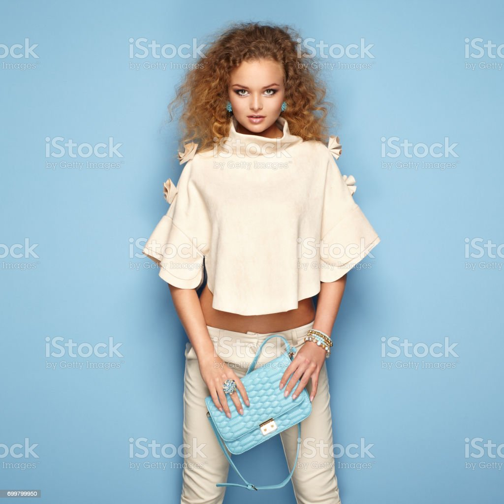 Fashion portrait of woman in summer outfit stock photo