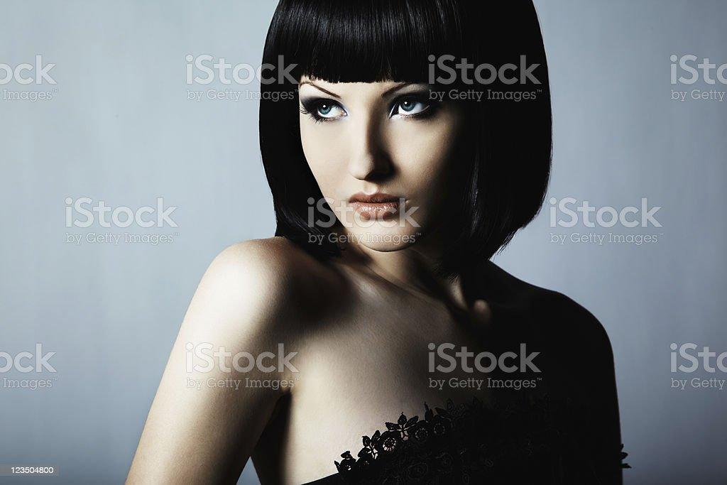 Fashion portrait of young beautiful elegant woman stock photo
