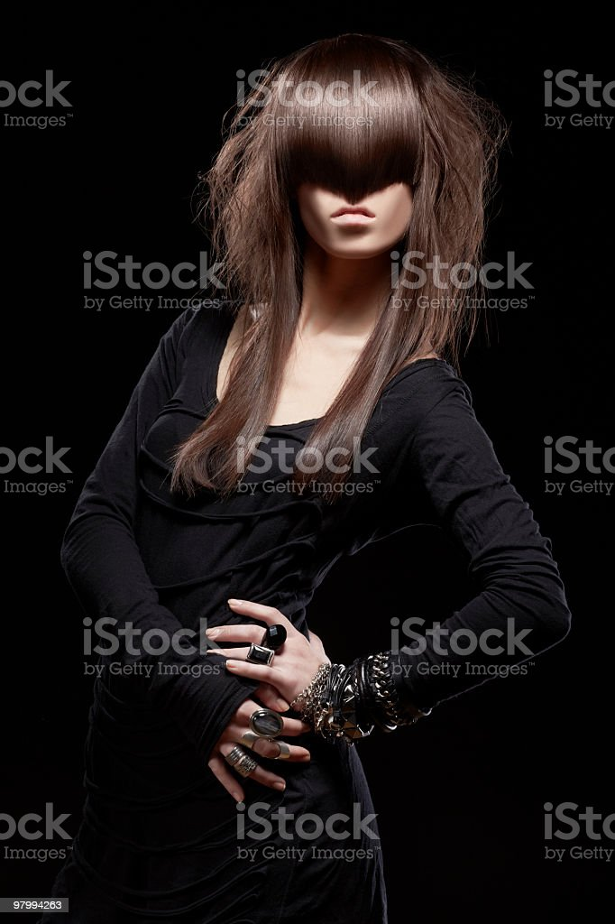 Fashion portrait of young beautiful woman on black background royalty free stockfoto