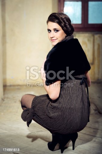 Fashion style portrait of young girl.