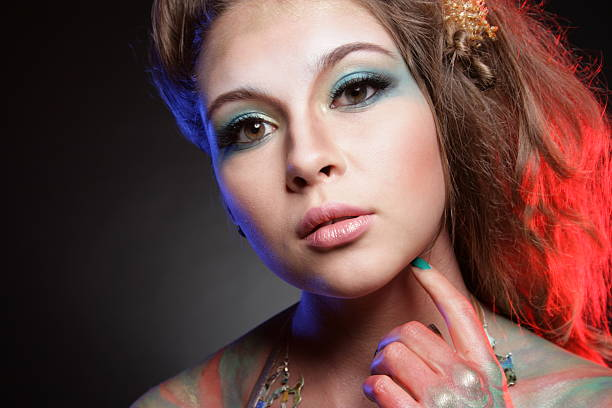 mode portrait - meerjungfrau fantasy make up stock-fotos und bilder