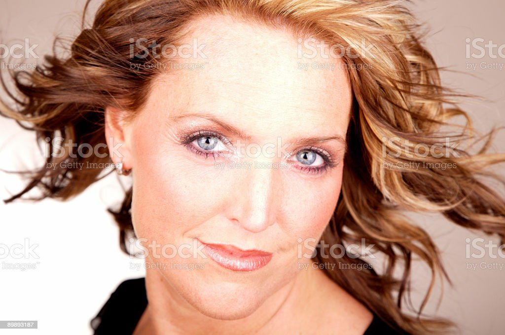 fashion portrait with hair in the wind royalty-free stock photo