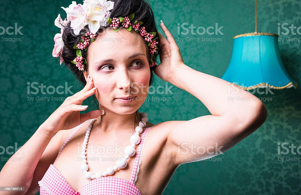 fashion pose of a woman in a marie antoniette look stock photo