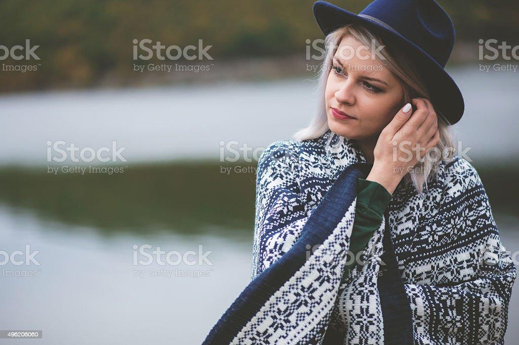 Fashion pretty cool girl stock photo
