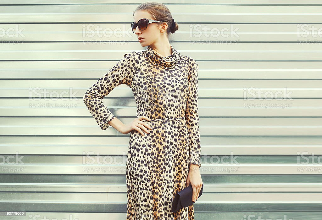 Fashion pretty woman in sunglasses and leopard dress with handba stock photo