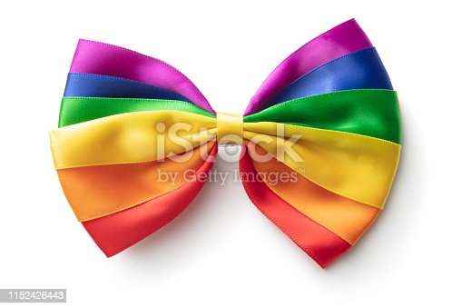 Fashion: Rainbow Bow Tie Isolated on White Background
