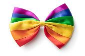 Fashion: Rainbow Bow Tie Isolated on White Background