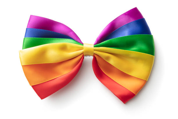 Fashion: Rainbow Bow Tie Isolated on White Background stock photo