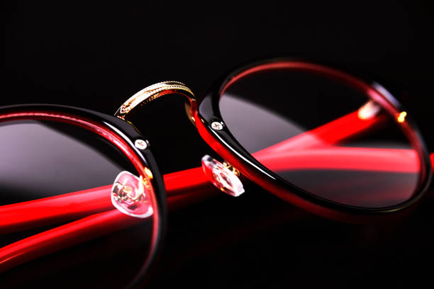 Fashion red black eyeglasses stock photo