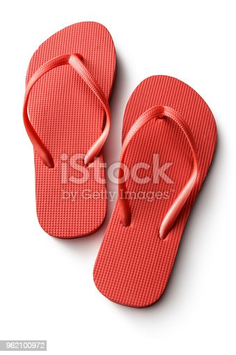 Fashion: Red Flip Flops Isolated on White Background