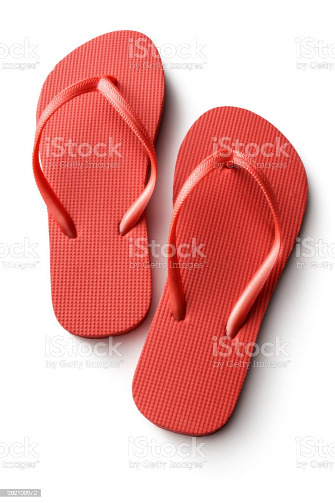 Fashion: Red Flip Flops Isolated on White Background stock photo