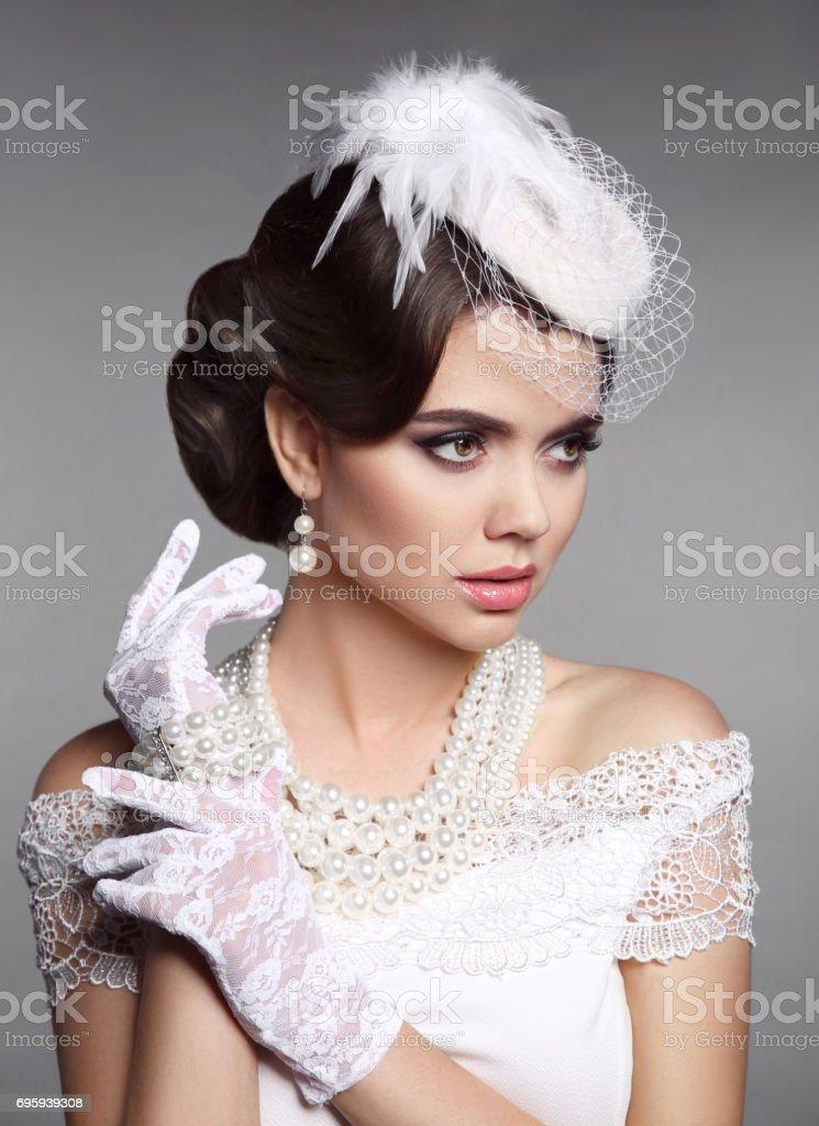 Fotografia De Retrato De Mujer Elegante Retro De Moda Peinado De