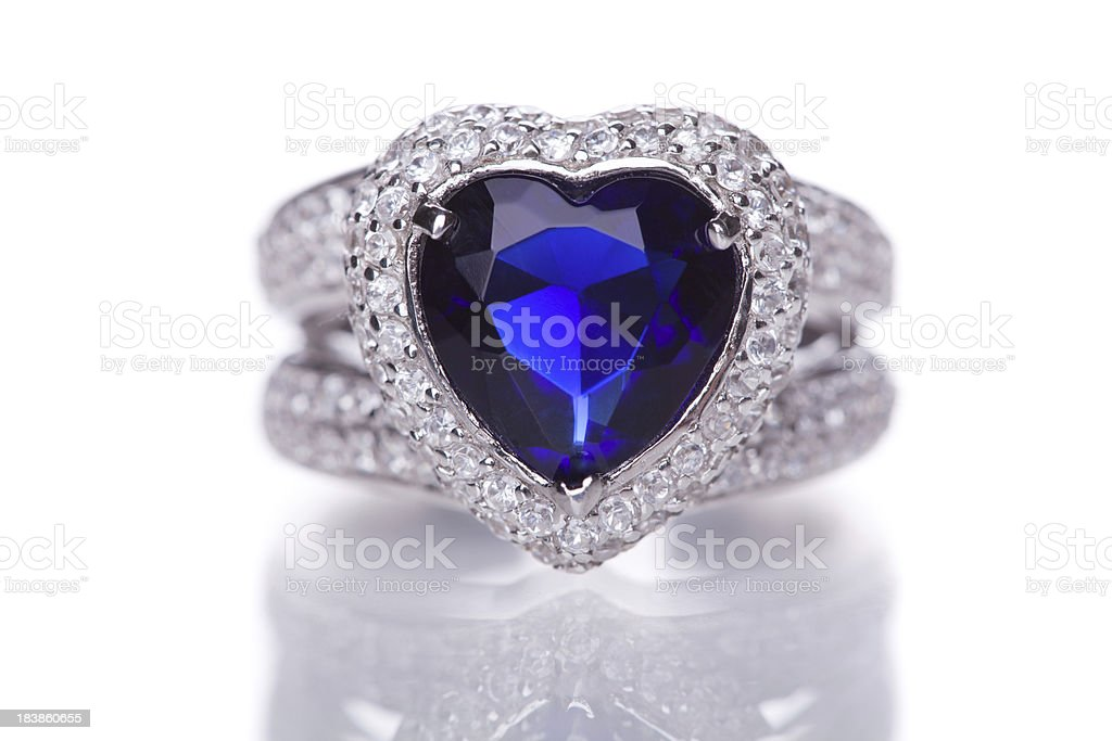 Fashion ring with blue heart shaped gem royalty-free stock photo