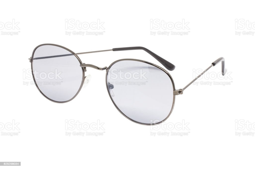Fashion round glasses vintage black and white color bubble isolated background. stock photo