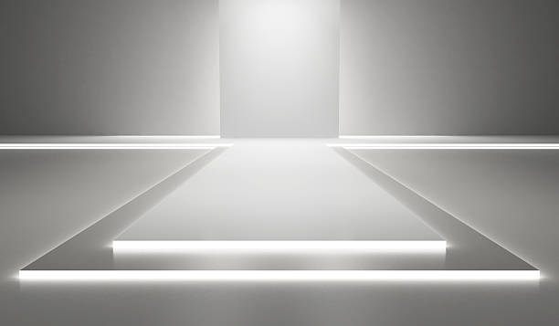 Fashion runway Empty white hall with a podium for fashion display ramp stock pictures, royalty-free photos & images