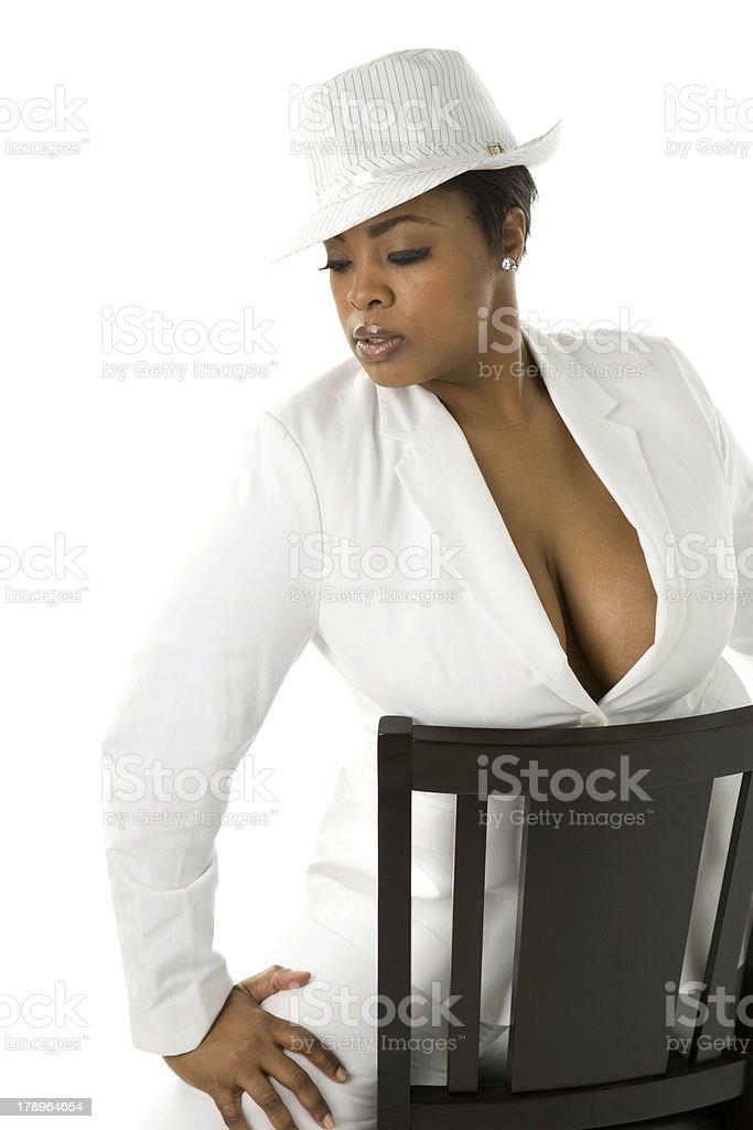 Fashion Series Black Female Model Hat royalty-free stock photo