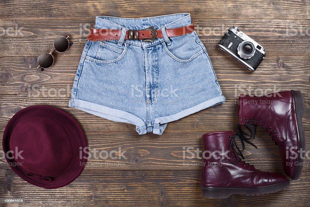 Modische Satz von hipster-Kleidung. – Foto