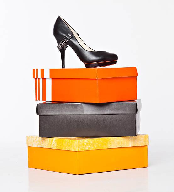 fashion shoe on the boxes stock photo