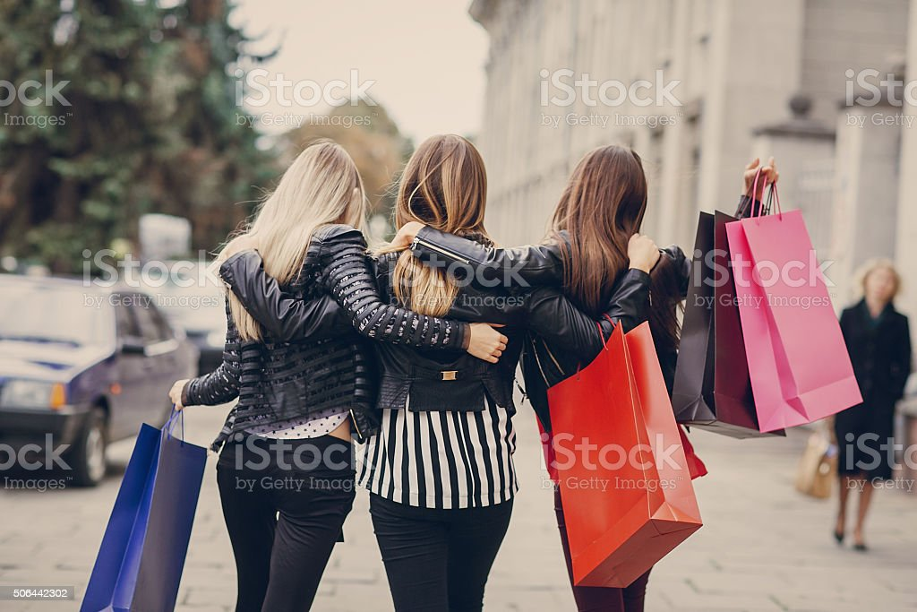 fashion shopping street stock photo
