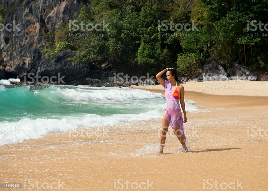 Fashion shot of a Philippina on the Exotic beach royalty-free stock photo